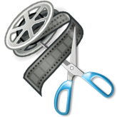 icon of a reel of file being cut by a pair of scissors